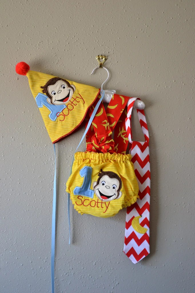 Curious George 1st Birthday Smash Cake Outfit Boogerbear Punkinpooh Designs