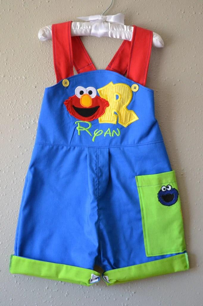 Boys First Birthday Outfit Sesame Street Elmo Shortalls With B Day Hat Boogerbear Punkinpooh Designs