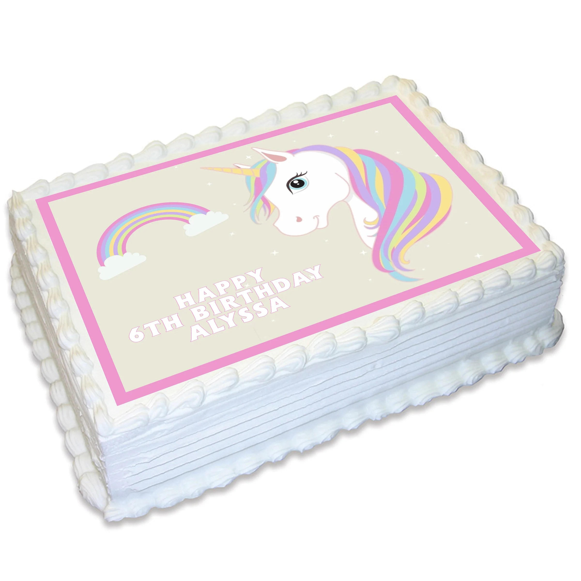 Unicorn Rectangle Edible Cake Topper Deezee Designs