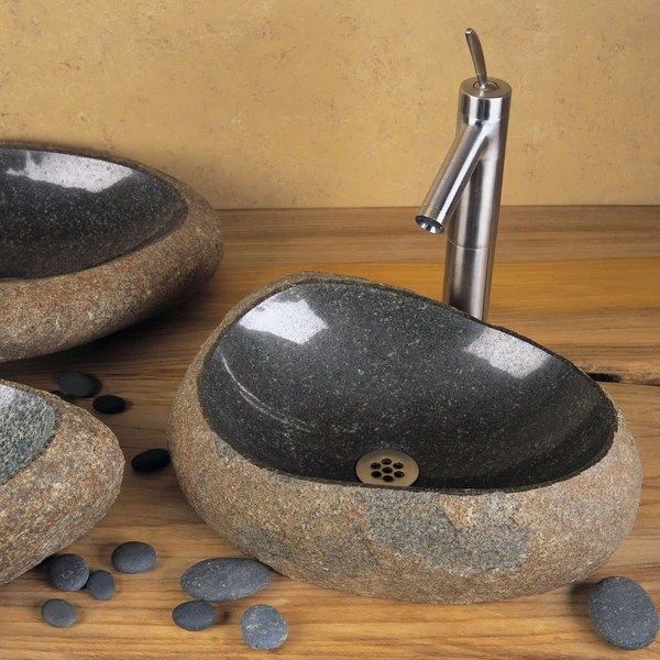 japanese inspired granite, marble, & onyx vessel sinks -stone forest