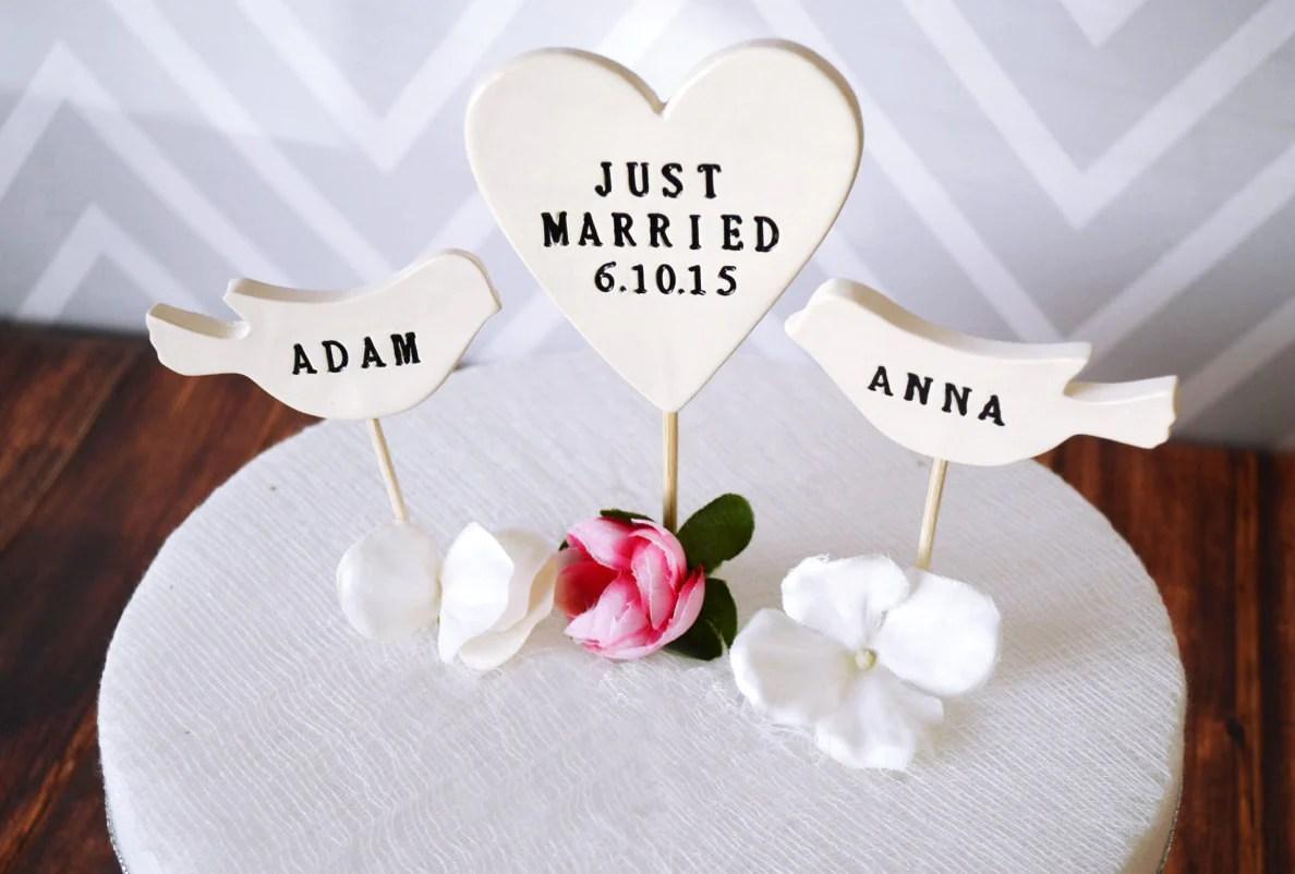 PERSONALIZED Just Married Heart Wedding Cake Topper with Date and Bird     PERSONALIZED Just Married Heart Wedding Cake Topper with Date and Birds  with Names