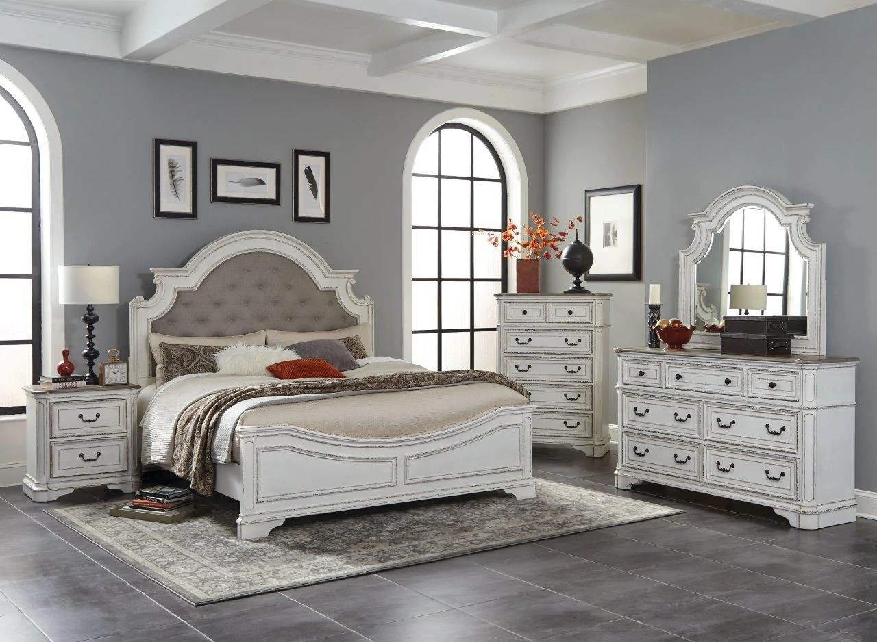 antique white oak queen bedroom set