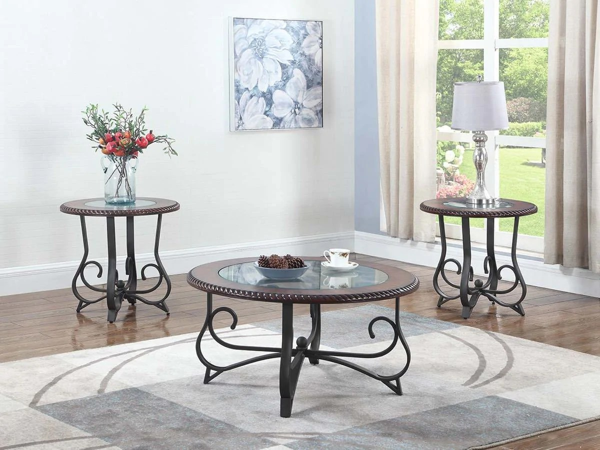 round cherry glass coffee table set