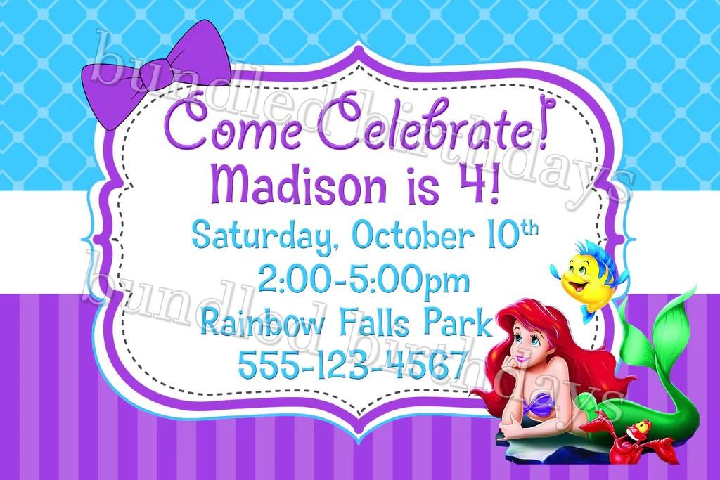 ariel little mermaid birthday invitation digital download