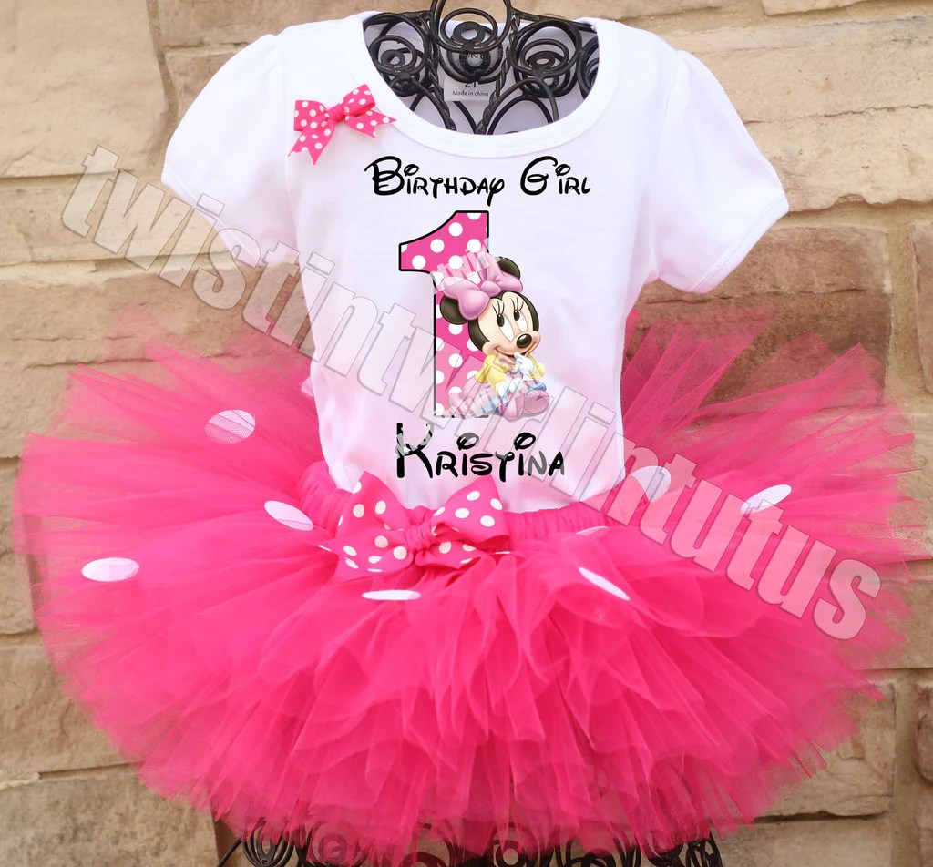 Minnie Mouse First Birthday Tutu Outfit Twistin Twirlin Tutus