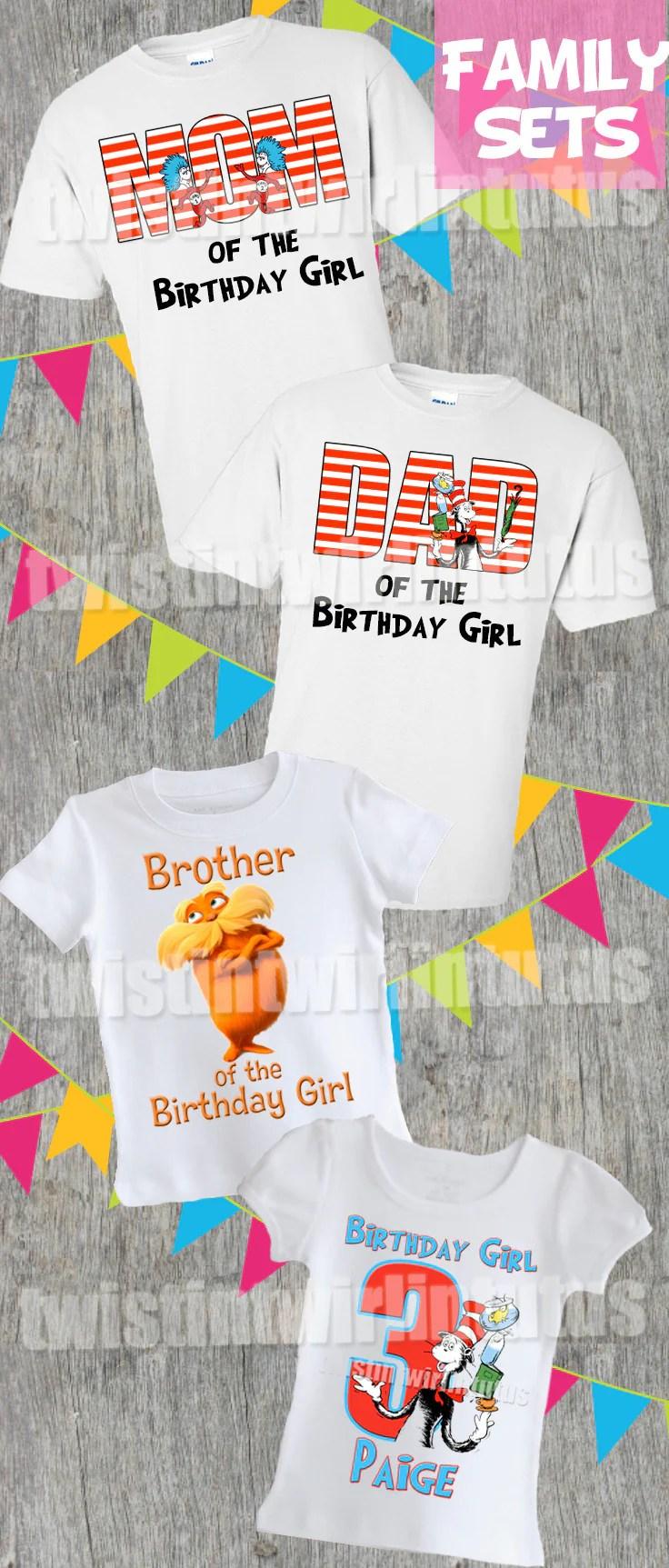 Cat In The Hat Birthday Shirt Family Set Twistin Twirlin Tutus
