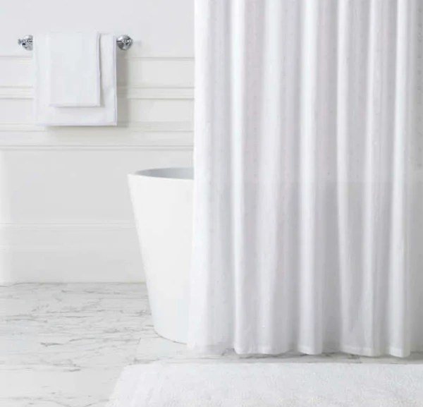 flower eyelet white shower curtain ld linens decor