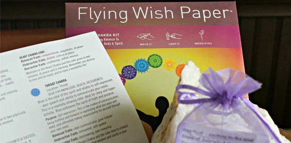 Flying Prayer And Flying Wish Paper Plus Tumbled Stone In Drawstring P
