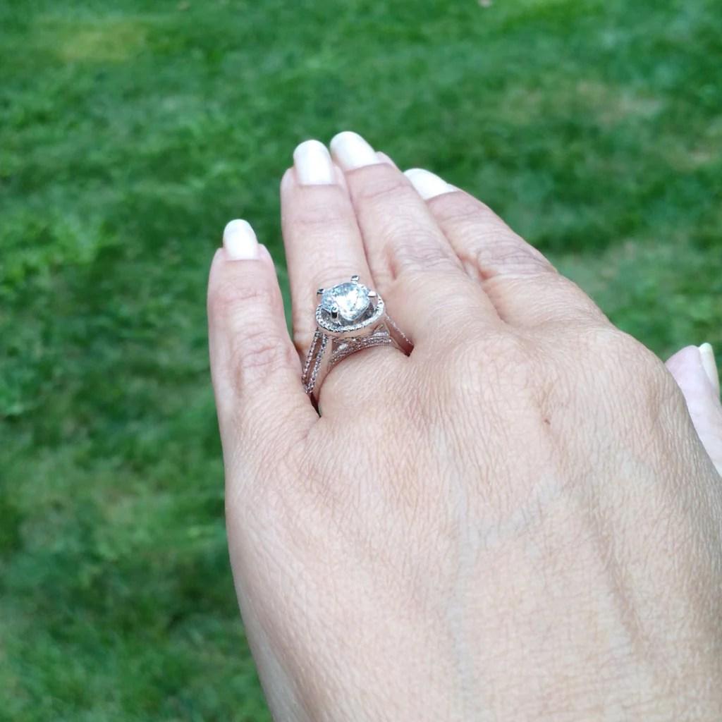 Floating Halo Engagement Ring 2 Carat Forever Brilliant