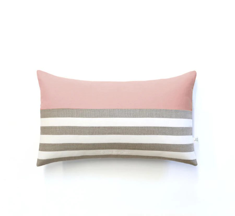 breton stripe lumbar pillow natural cream and blush