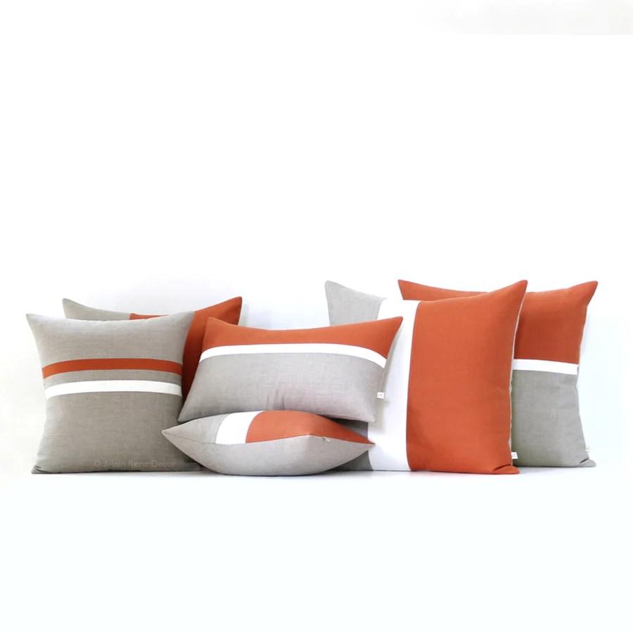 burnt orange pillow cover set of 6