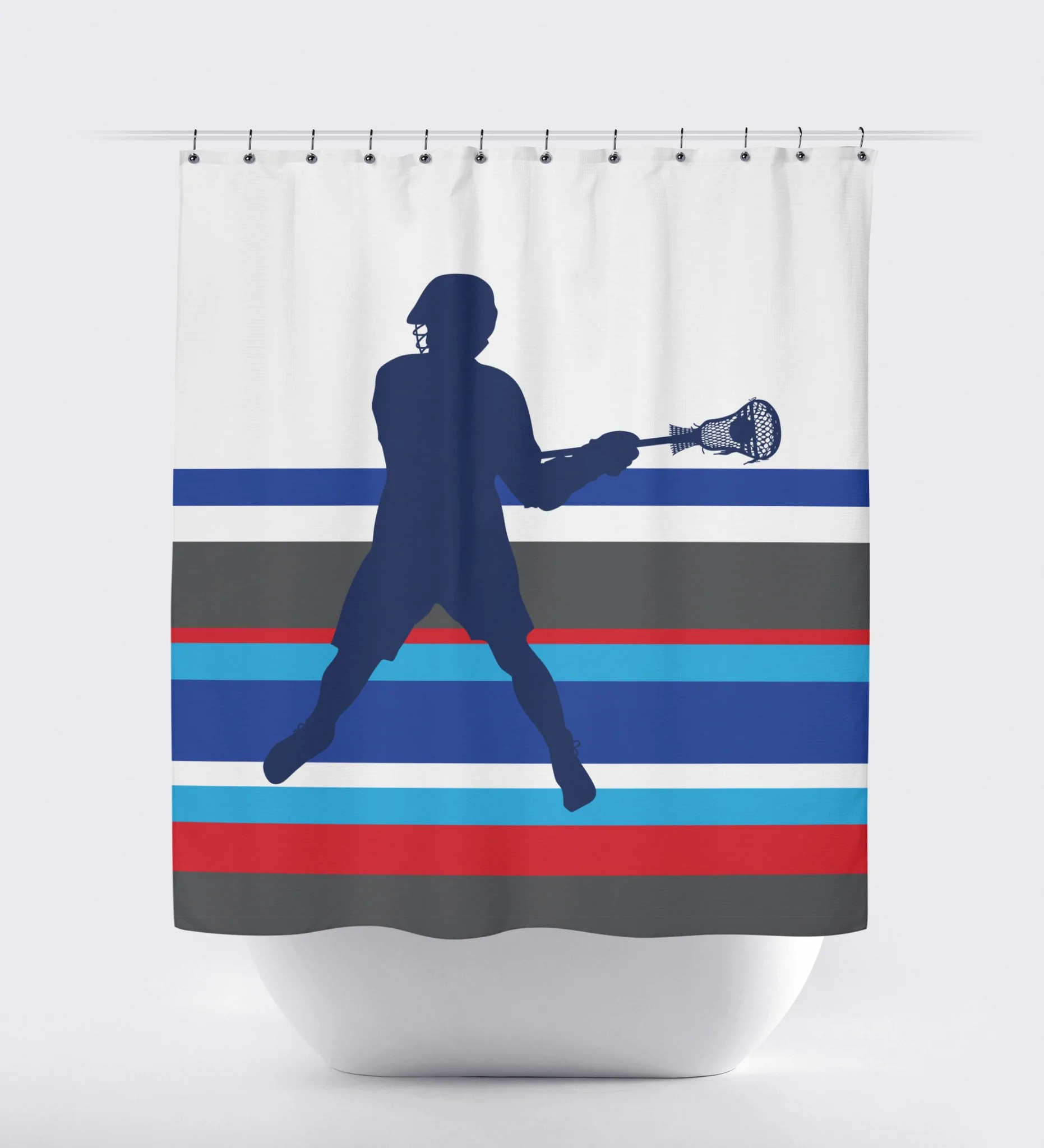 Lacrosse Multi Striped Shower Curtain Boys Lax Royal Blue Charcoal Red Turquoise And White Choose Any Colors