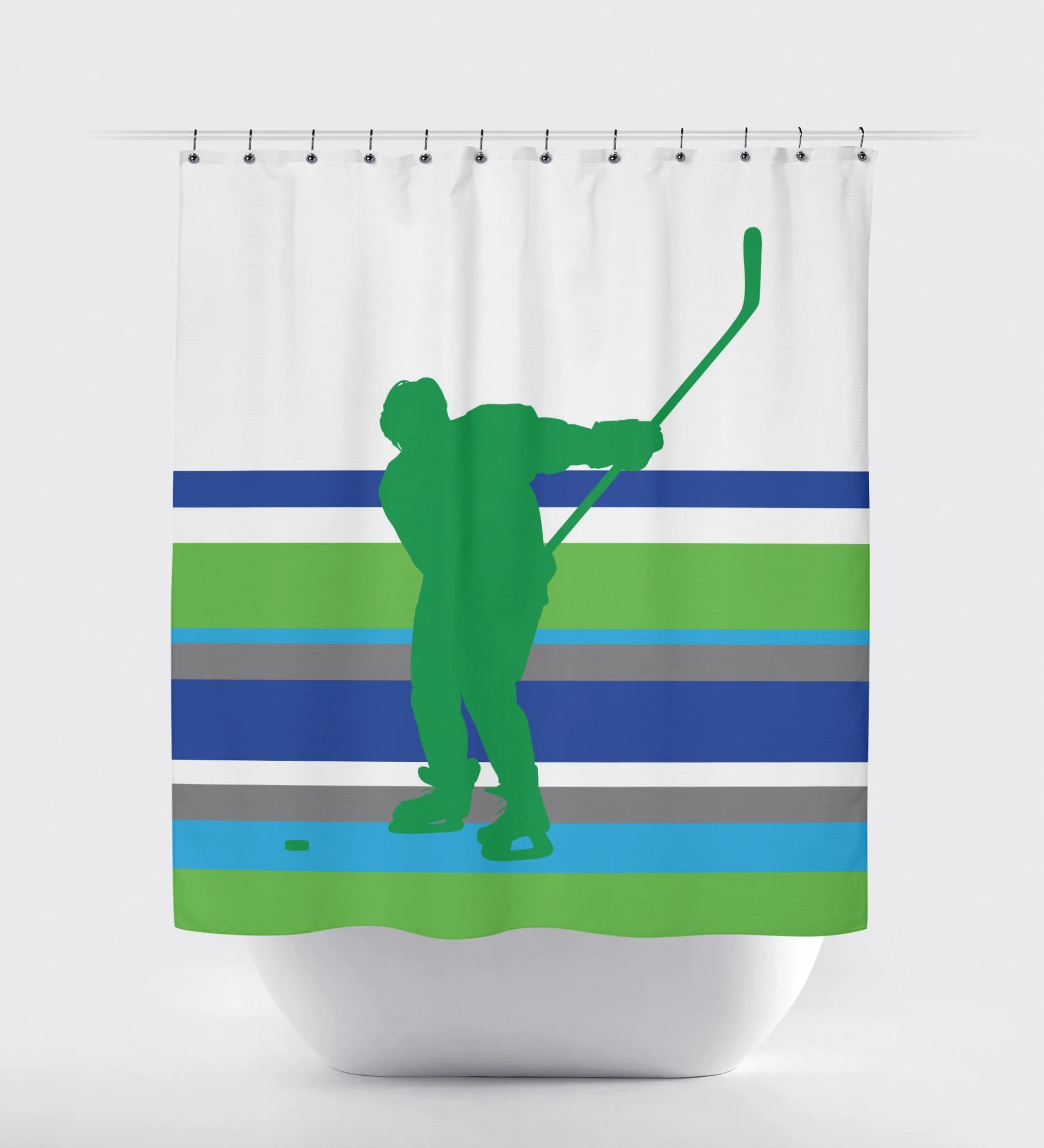 Ice Hockey Multi Striped Shower Curtain Royal Blue Charcoal Green Turquoise And White Choose Any Colors