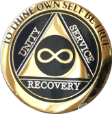 Infinity Eternal AA Medallion Elegant Black Gold Alcoholics Anonymous Sobriety Chip Coin - RecoveryChip