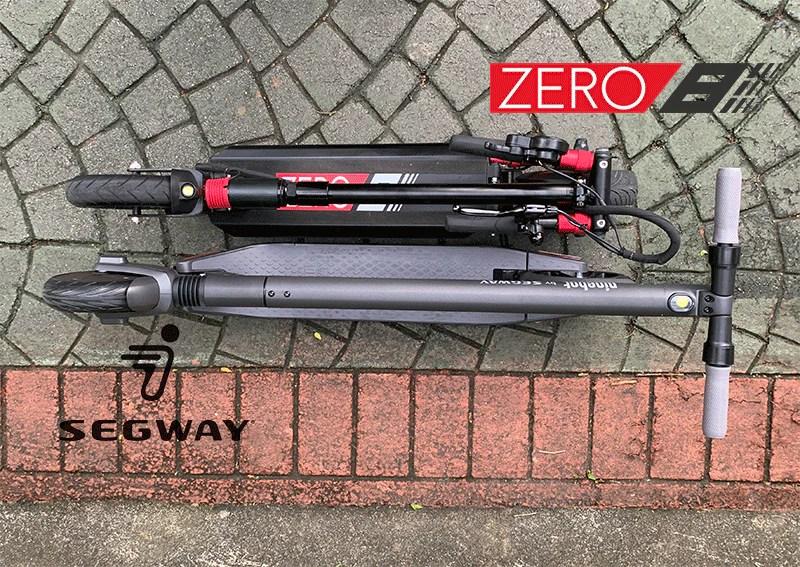 vue de dessus comparaison de scooter électrique segway es2 zéro 8