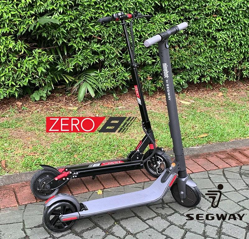 comparaison scooter électrique segway es2 zéro 8 vue complète du corps