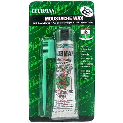 clubman pinaud moustache wax with brush b 0 5oz texasbeautysupplies