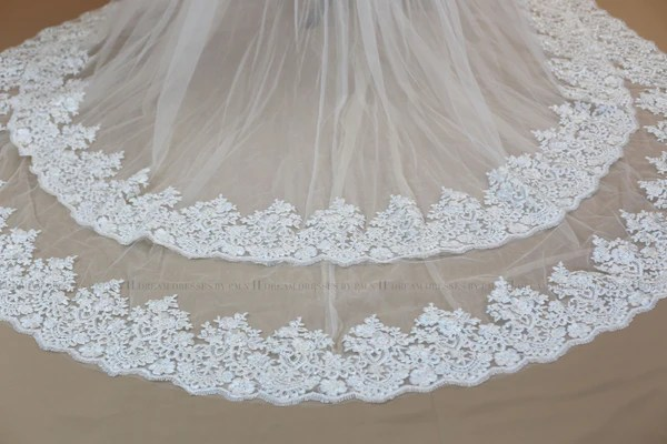 Bridal Detachable Cathedral Train With Two Layers Lace