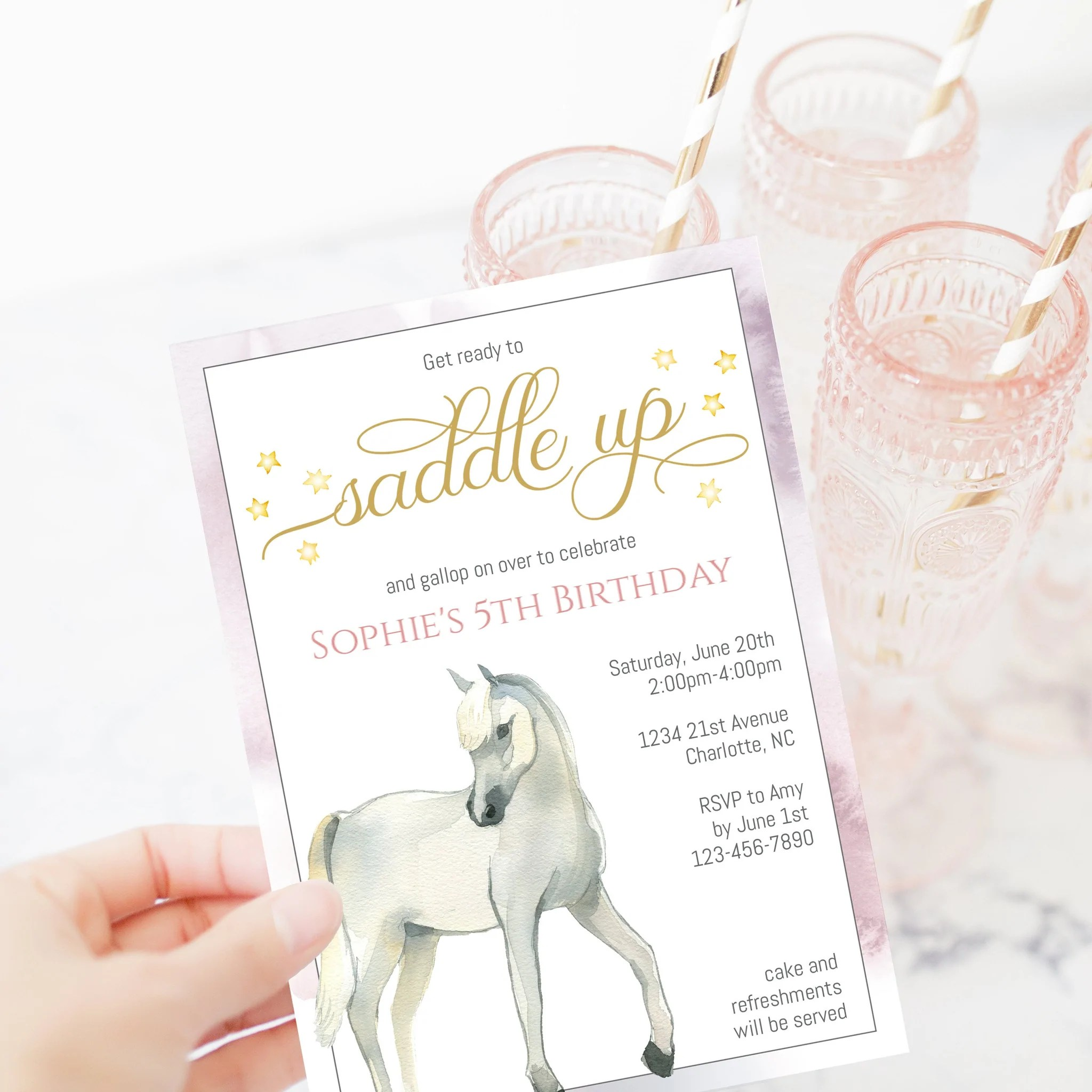 horse birthday invitation template printable horse party invite editable instant download d400