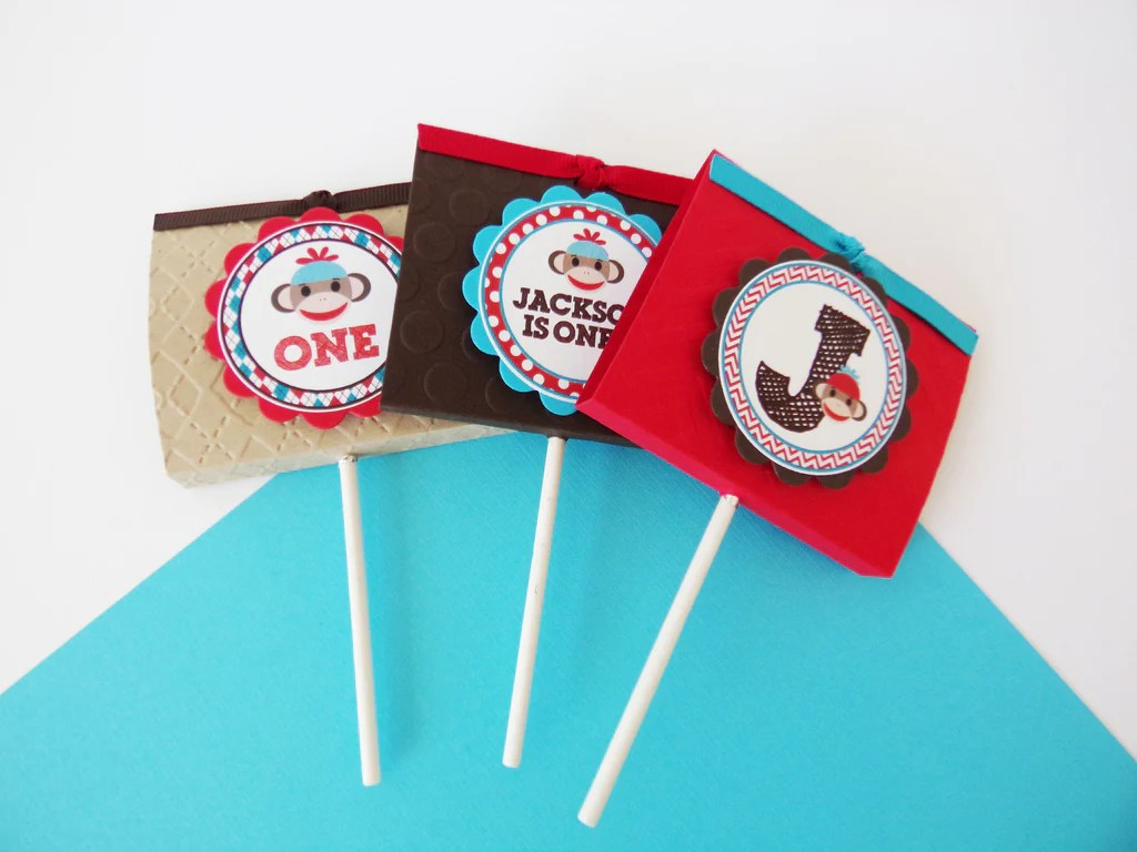 Sock Monkey Cupcake Toppers (24 Pc)
