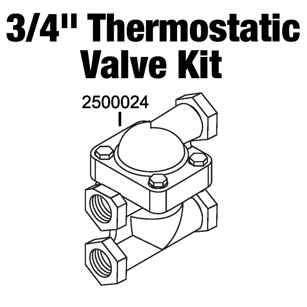 Central boiler thermostatic valve and body kit 3 4\