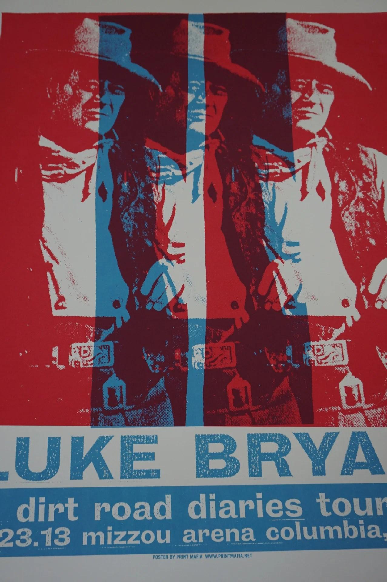 luke bryan 2013 print mafia poster columbia mo john wayne missou arena
