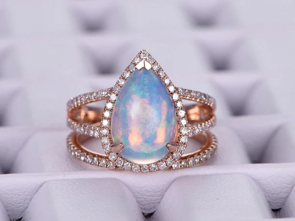 1155 Pear Africa Opal Engagement Ring Sets Pave Diamond