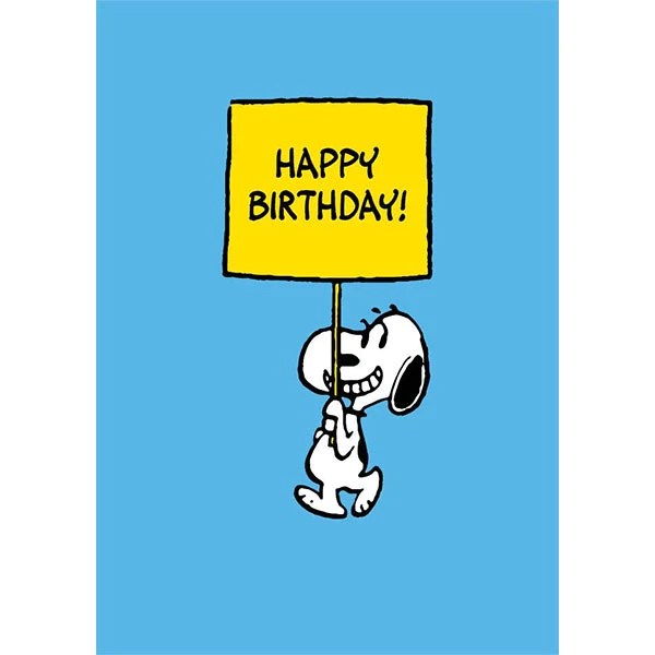 Happy Birthday Snoopy Sign Card Paper Tiger