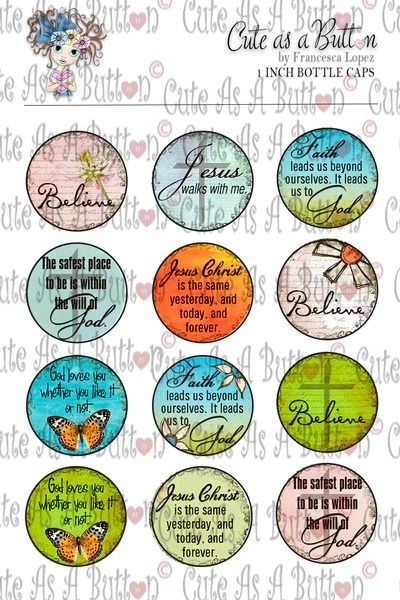Cute As A Button Stamps BC00006 Christian Sentiments