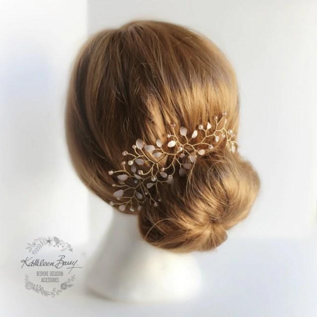 helen hair vine, blush pink gold, bridal hairpiece, rose gold tones, wedding bridal hair accessory, hair vine
