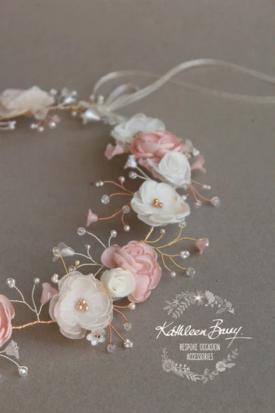 Nicci Bridal Flower Crown Wreath Colors To Order Rose