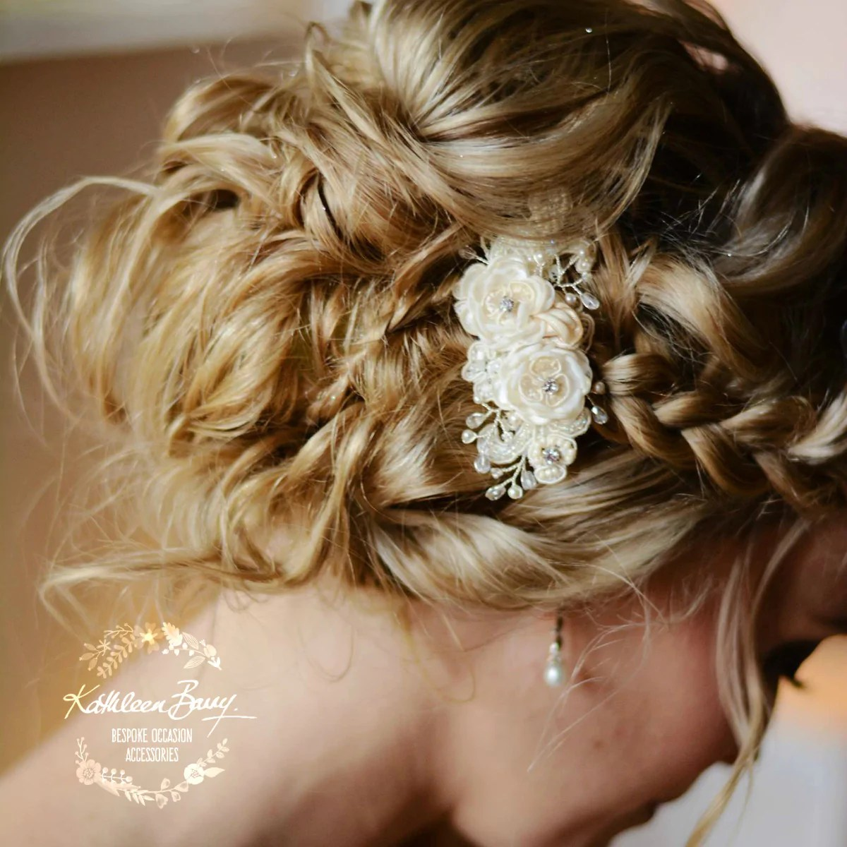 sheena hairpiece lace ivory small flowers and hand beaded chantilly lace bridal wedding hair