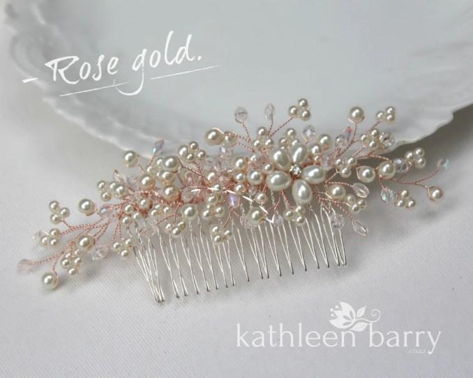 jelani rose gold or silver bridal hair comb dainty, crystal, pearl - veil  comb