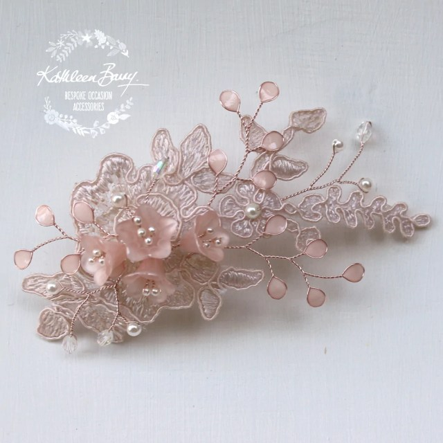 ntombi lace bridal hairpiece blush pink rose gold - wedding hairpiece comb - veil comb