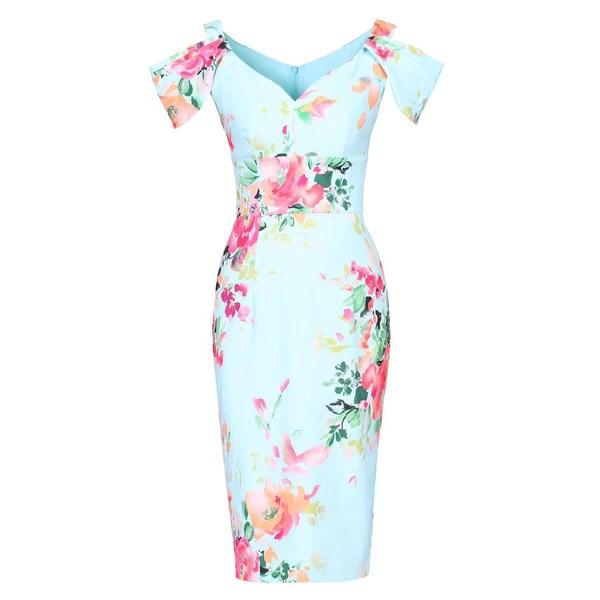 Aqua Blue V Neck Cold Shoulder Bardot Wiggle Pencil Dress