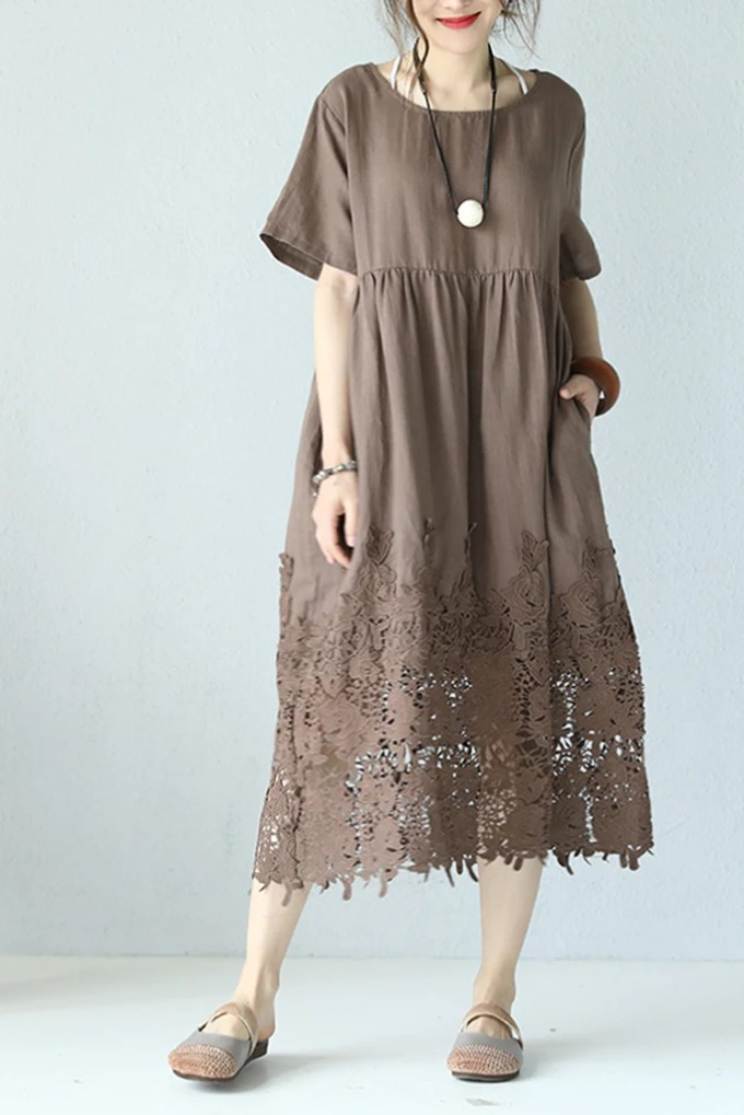 Casual Loose Fitting Round Neck Lace Linen Long Dress ...