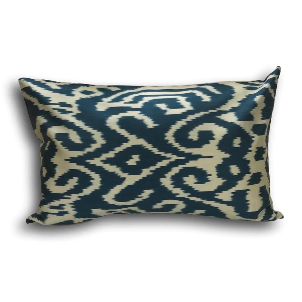 ikat cushion cover navy blue 40 x 60 cm