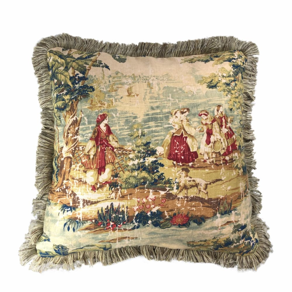 bosporus antique red old world scenic landscape toile pillow cover with brush fringe trim