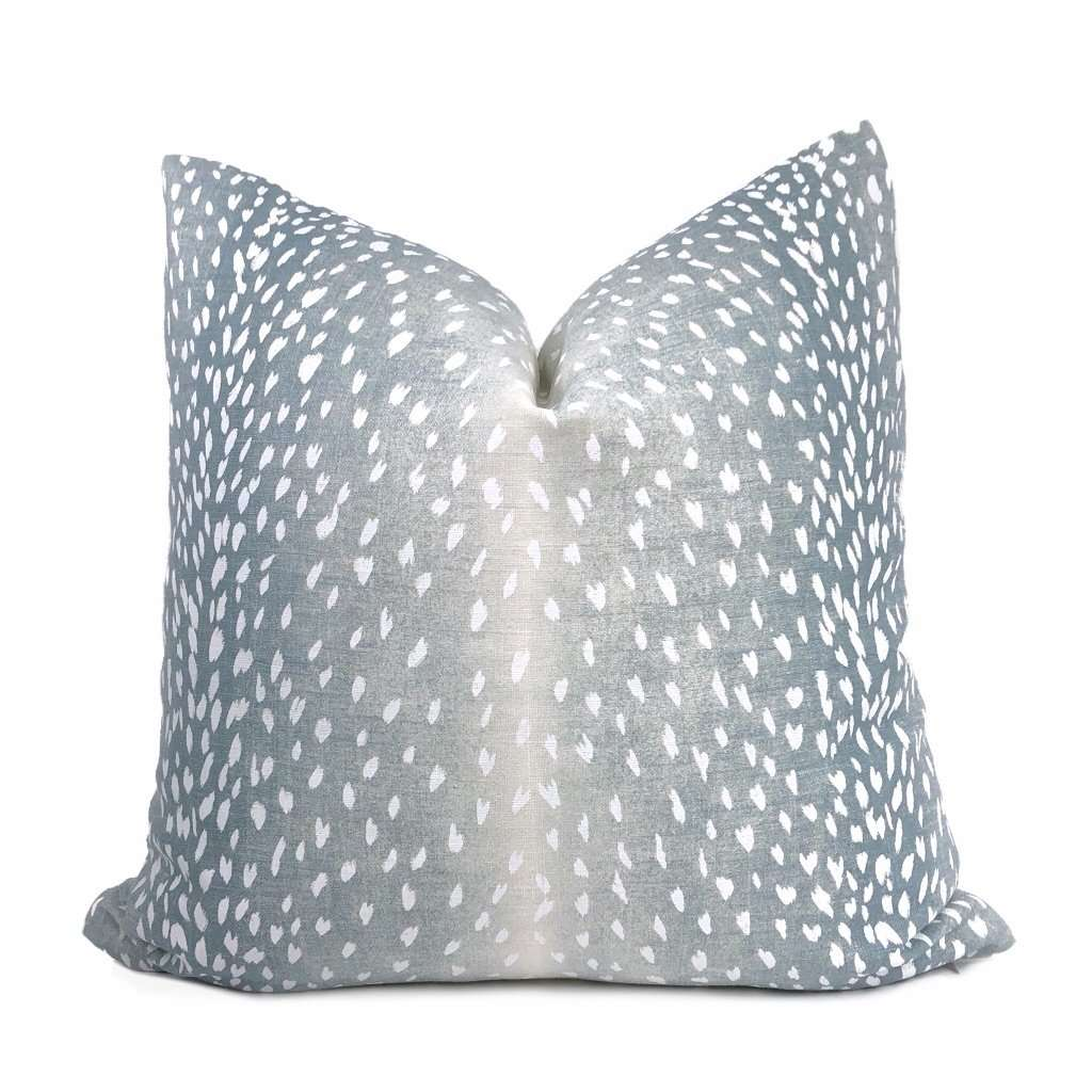 cervidae denim blue white deer hide animal print pillow cover