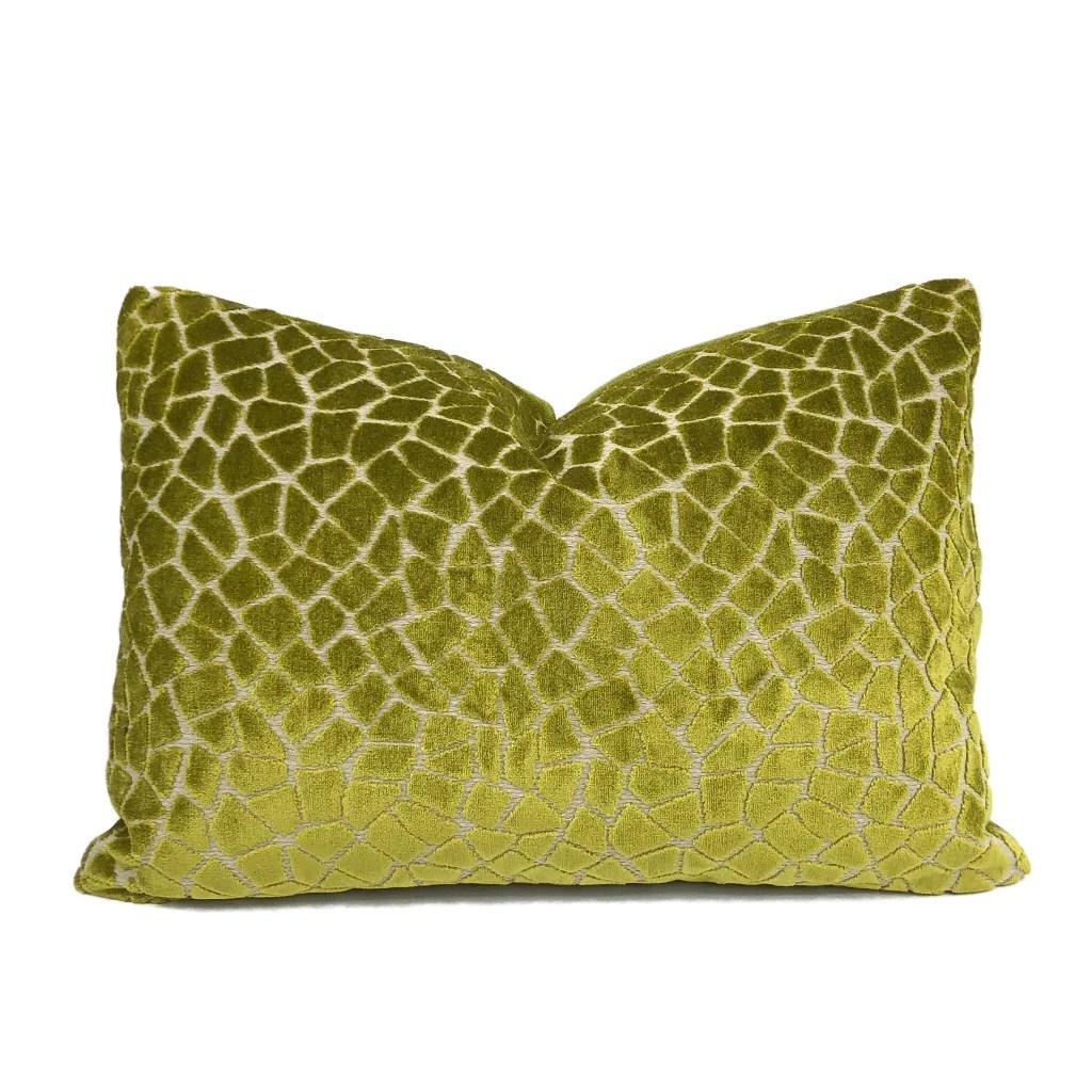pindler soren lime green mosaic pattern cut velvet pillow cover