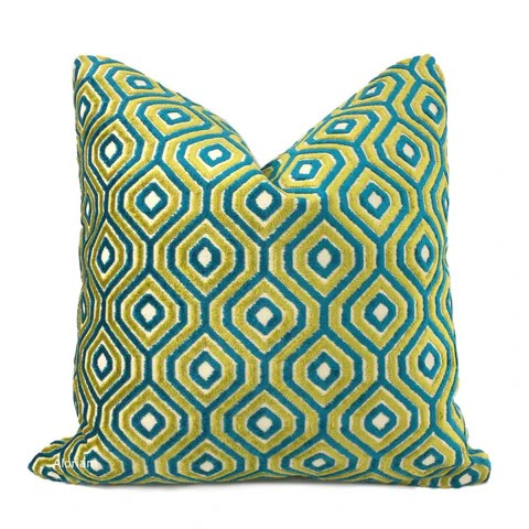 green pillow covers green throw