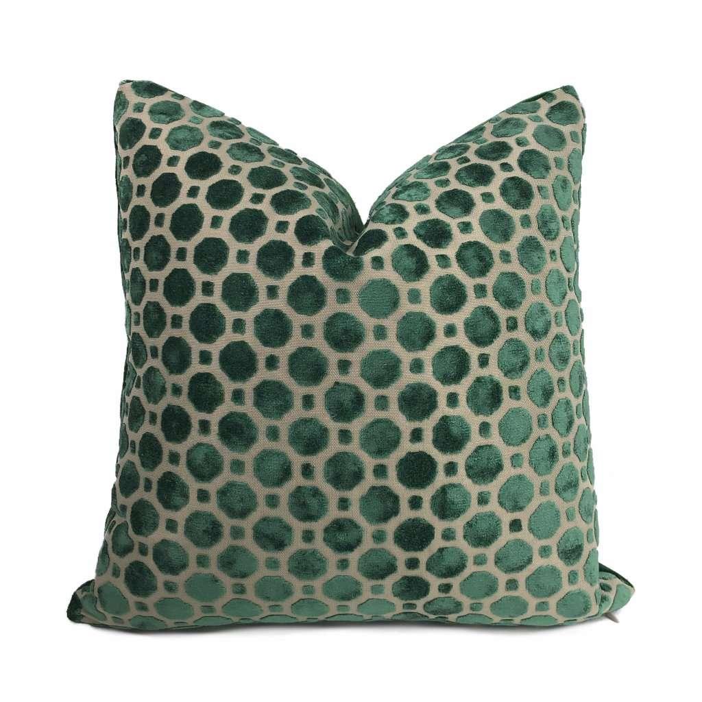 robert allen velvet geo emerald green pillow cover