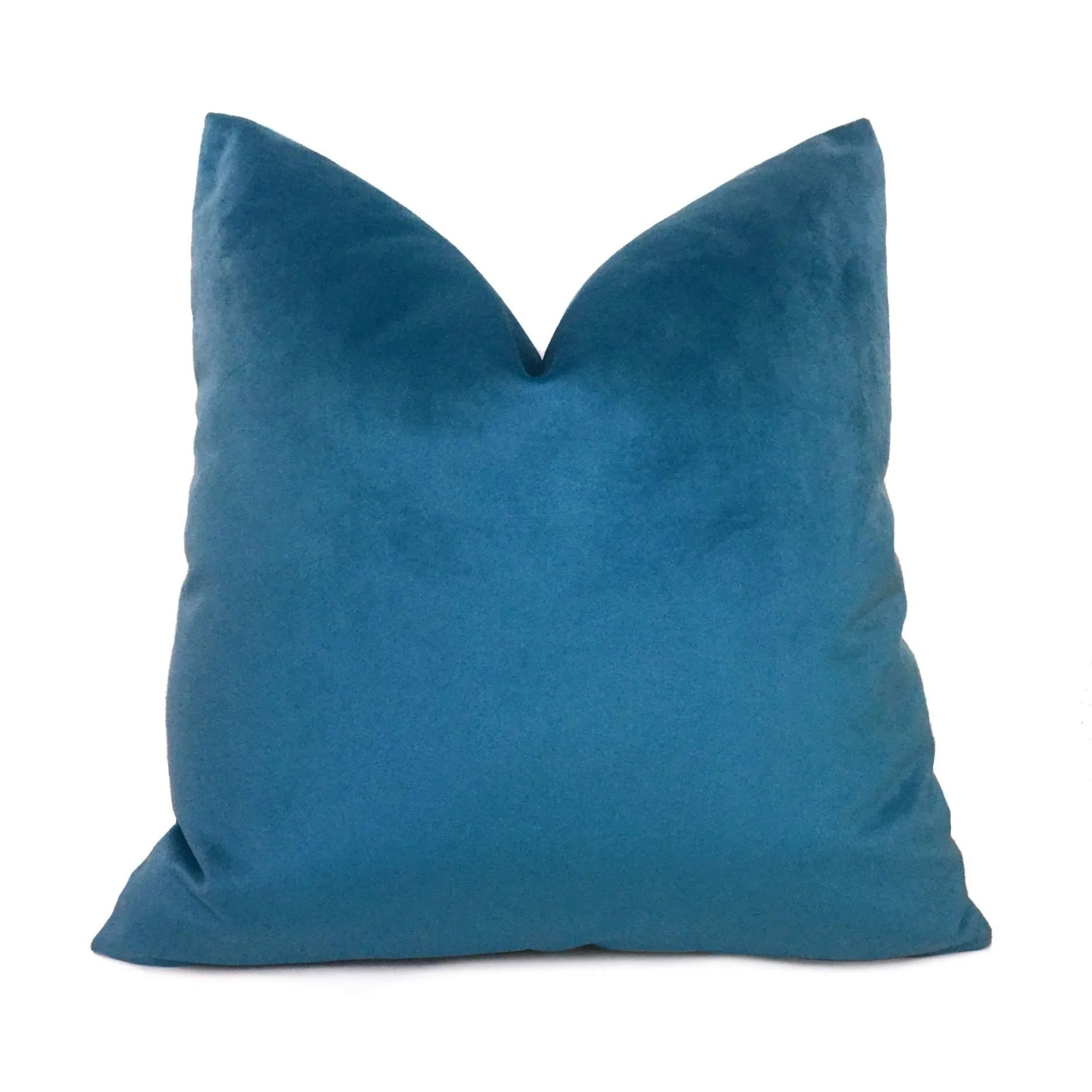 solid capri blue libretto microfiber velvet pillow cover