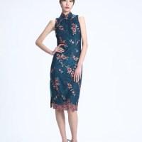 #QIPAO #Cheongsam #旗袍 #HongKong   #YiMing – Gorgeous Blush –Grey Floral Embroidery on an Elegant mesh mid length Qipao dress …