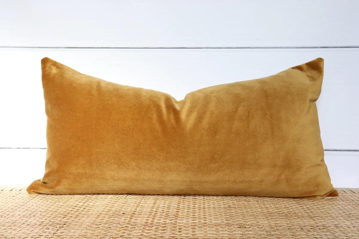 mustard velvet pillow velvet lumbar 12x24 no8004