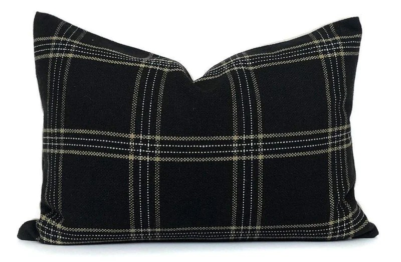 dundee pillow cover in jet black white and tan plaid pillow