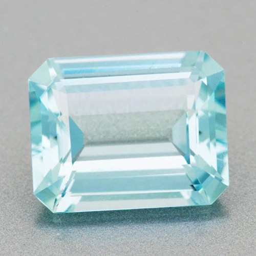 Loose Rare Teal Color Emerald Cut Aquamarine Gemstone 2