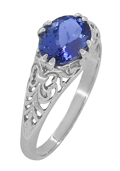 East West Edwardian Oval Tanzanite Filigree Ring In 14K