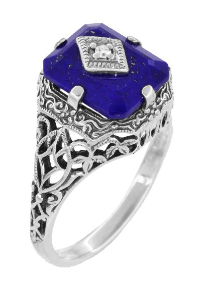 Carolines Ring Art Deco Filigree Diamond And Lapis
