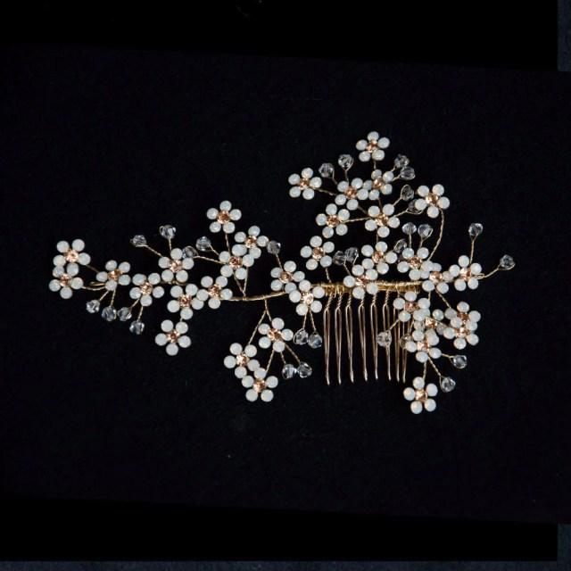 opal cherry blossom handmade bridal headpiece, hair comb for wedding